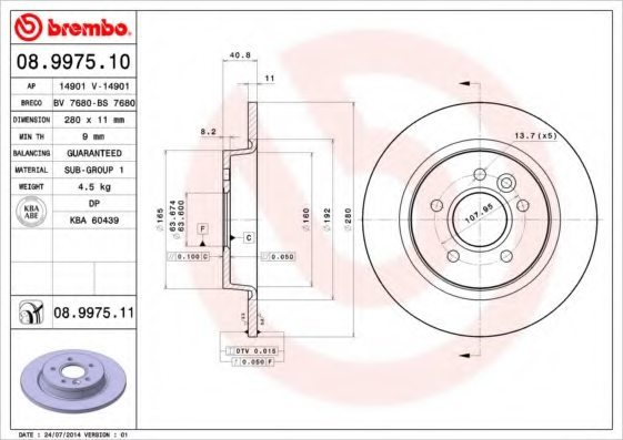 Заден спирачен диск BREMBO 08.9975.10 280мм Volvo C30 C70 S40 V50 2.0D 2004-2012